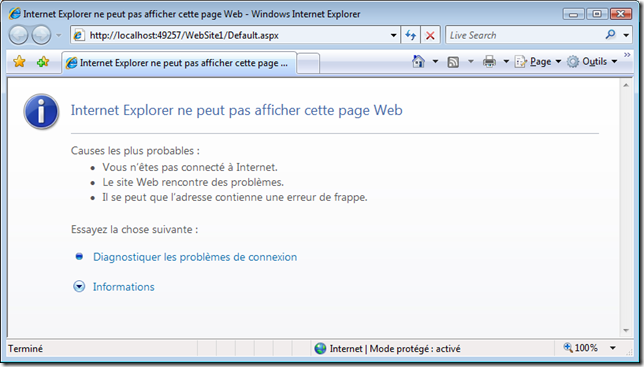 Internet explorer server a rencontre un probleme