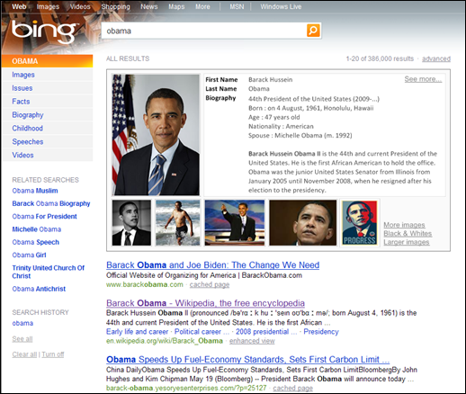 Bing - Obama Search Instant Anwser - test of alpha version