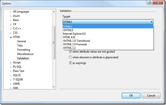 Visual studio 2010 HTML5