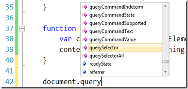 Visual Studio 2010 HTML5 Selectors javascript API