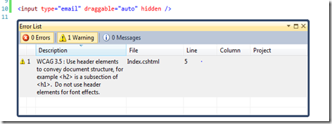 Visual Studio 2010 HTML5 Validation