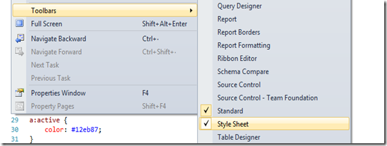 Visual Studio 2010 HTML5 CSS3 Toolbar