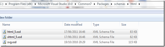Visual studio 2010 schema HTML5