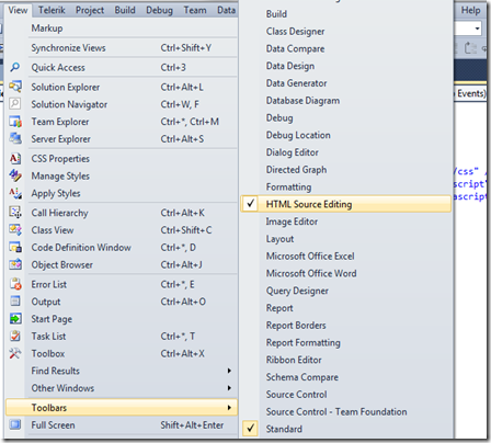 Visual studio 2010 HTML5 Toolbar