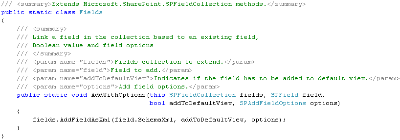 Extension Method : utilisation de AddFieldWithXml