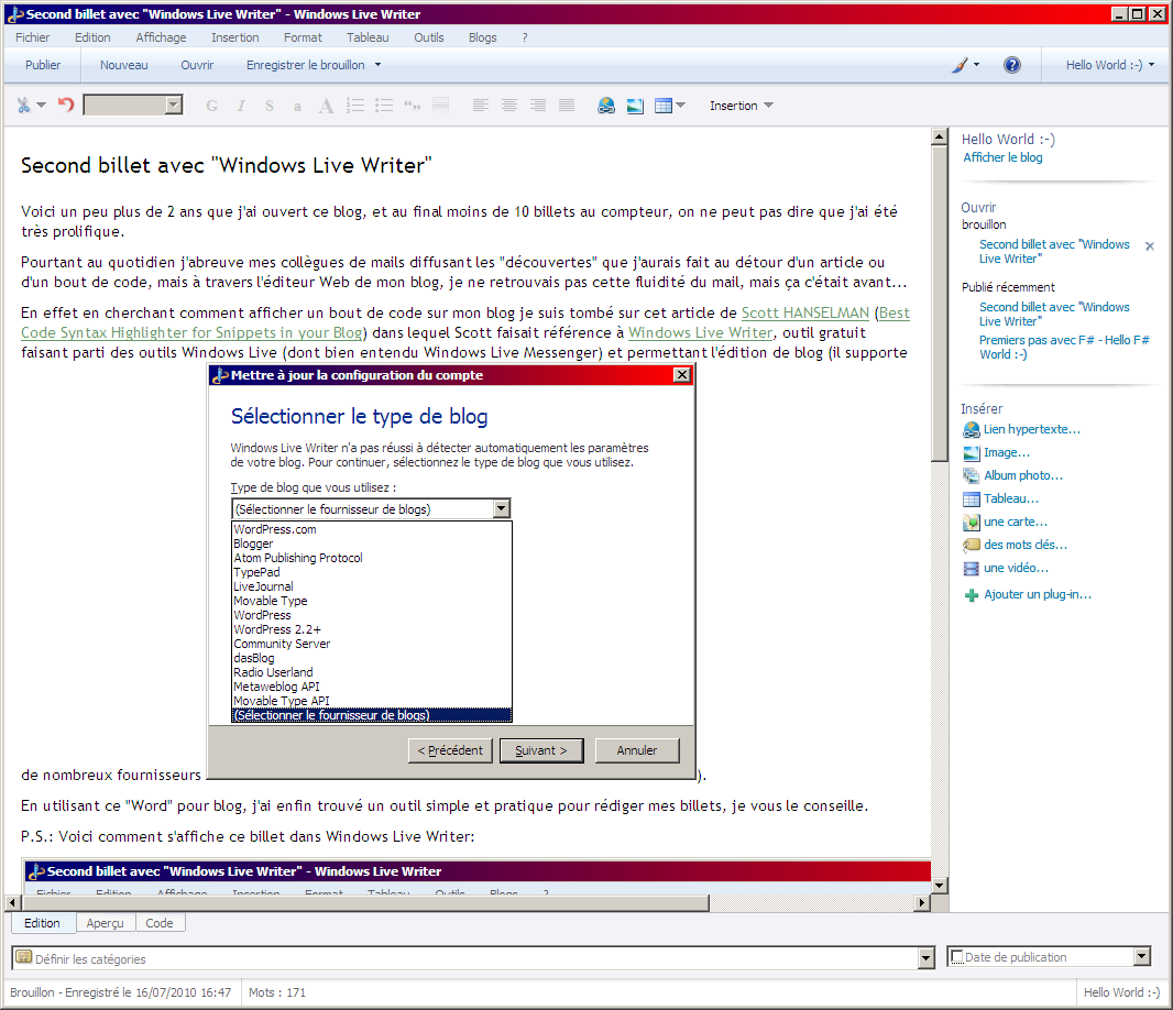 ce billet dans Windows Live Writer