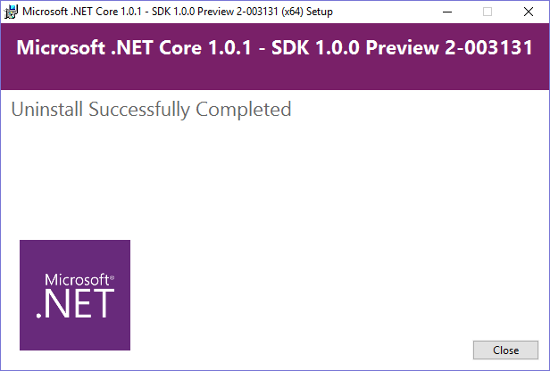 Uninstall .net Core 1 preview 2