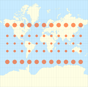 Projection Mercator avec indicatrices de deformation de Tissot