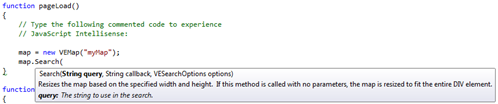 Bing Maps VEMap.Search() Intellisense