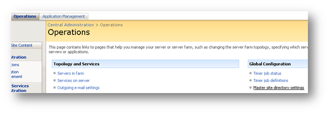 Opérations : Master site directory settings