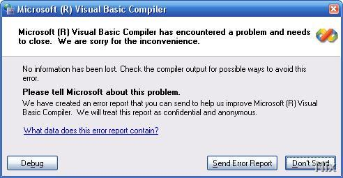 Send Error Report Visual Studio 2005 RTM !